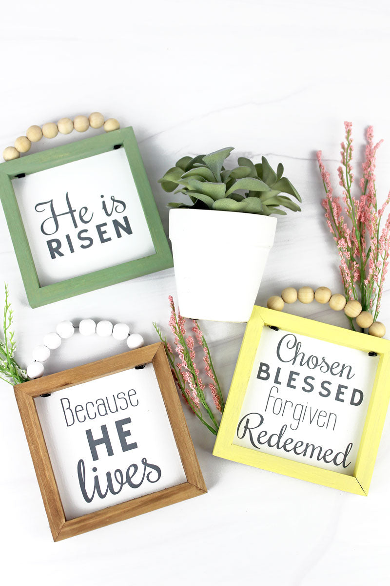 5 x 5 'He Is Risen' Wood Beaded Framed Sign