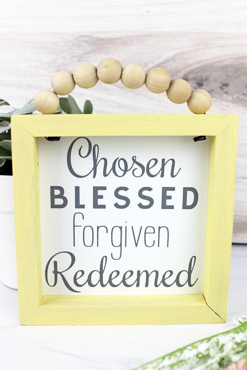 5 x 5 'Chosen Blessed Forgiven Redeemed' Wood Beaded Framed Sign