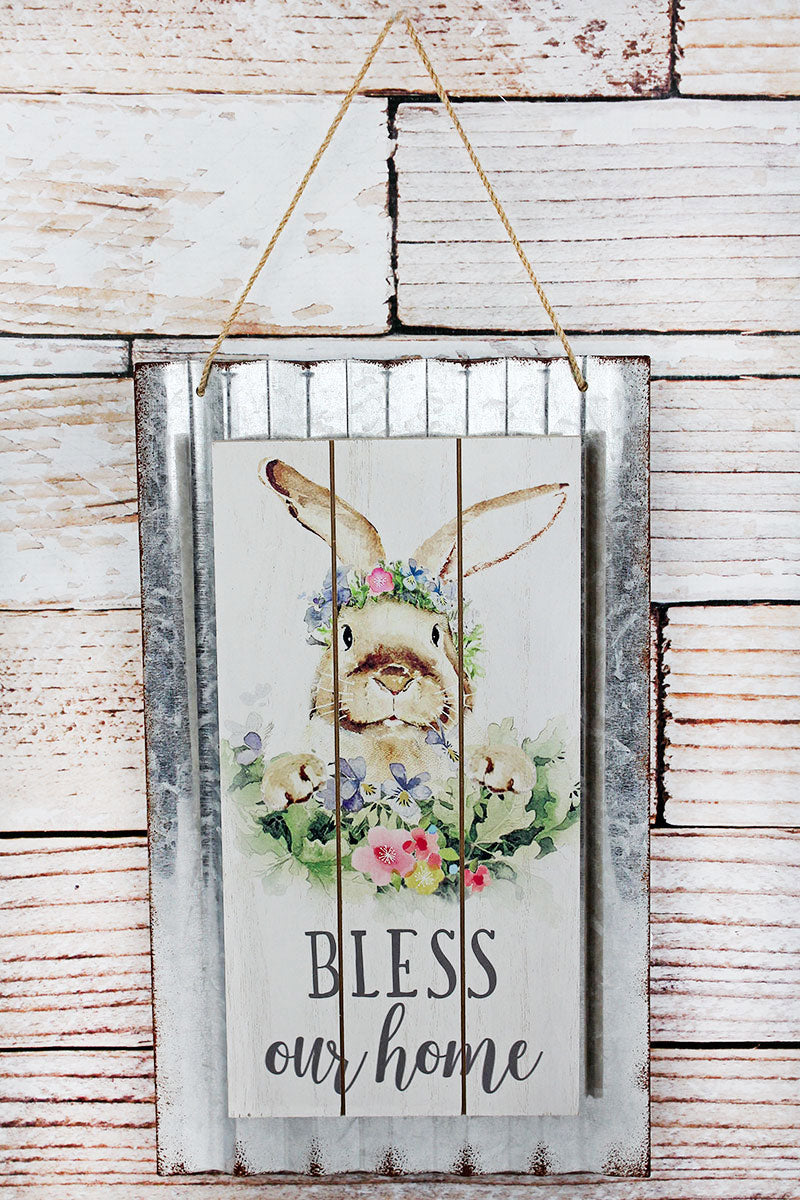 15.75 x 9.25 'Bless Our Home' Bunny Corrugated Metal and Wood Wall Sign
