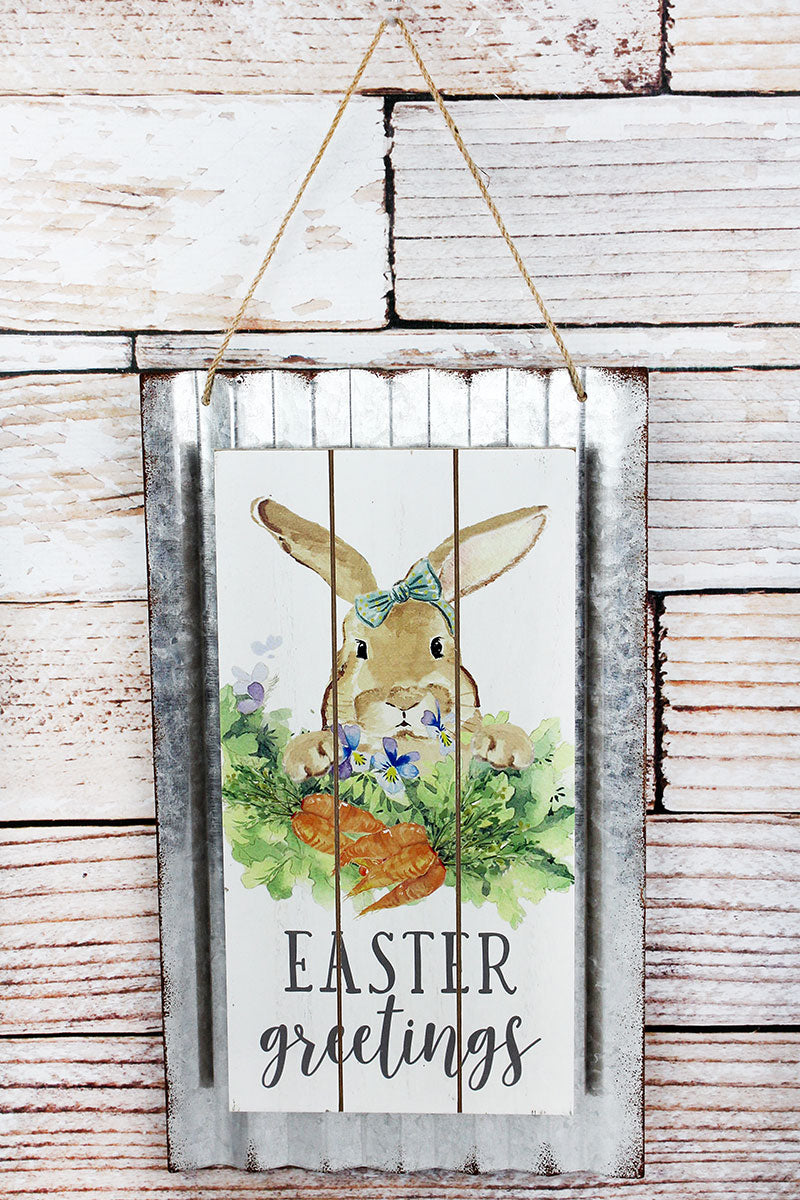 15.75 x 9.25 'Easter Greetings' Bunny Corrugated Metal and Wood Wall Sign