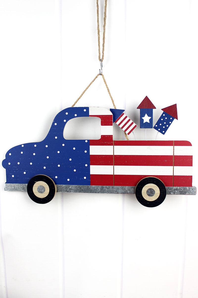 12.75 x 23 American Flag Truck with Fireworks Wall Art