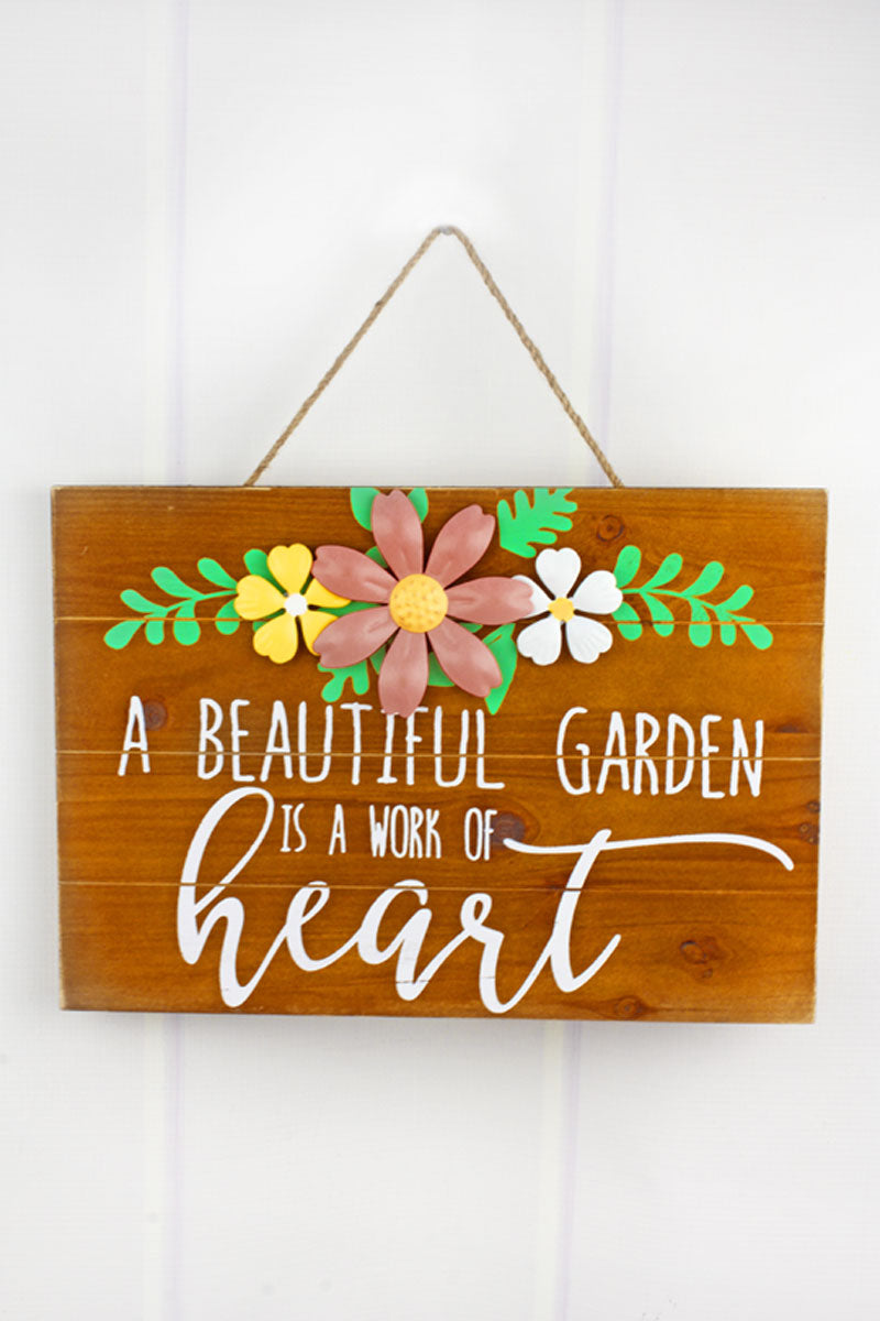 9.5 x 13.25 'Work Of Heart' Tin Flower Wood Wall Sign