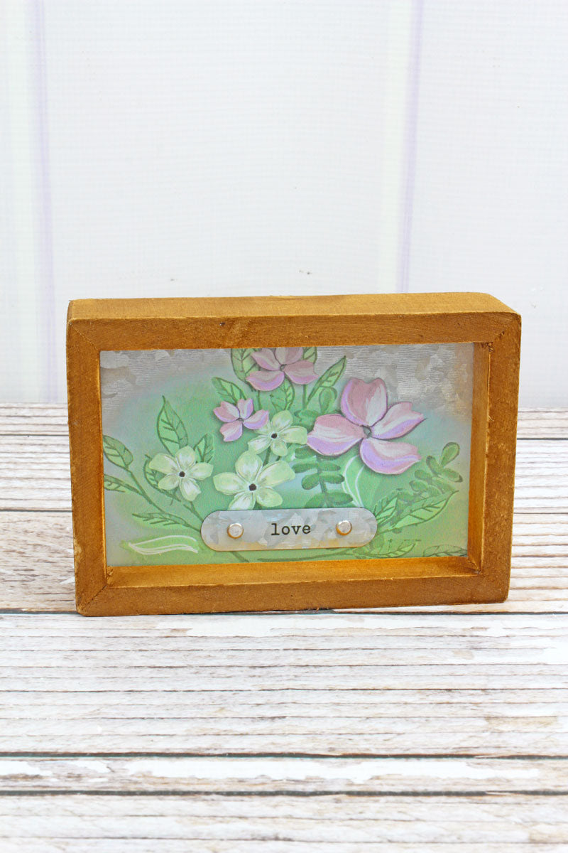 SALE! 4 x 6 'Love' Spring Flowers Framed Metal Tabletop Sign