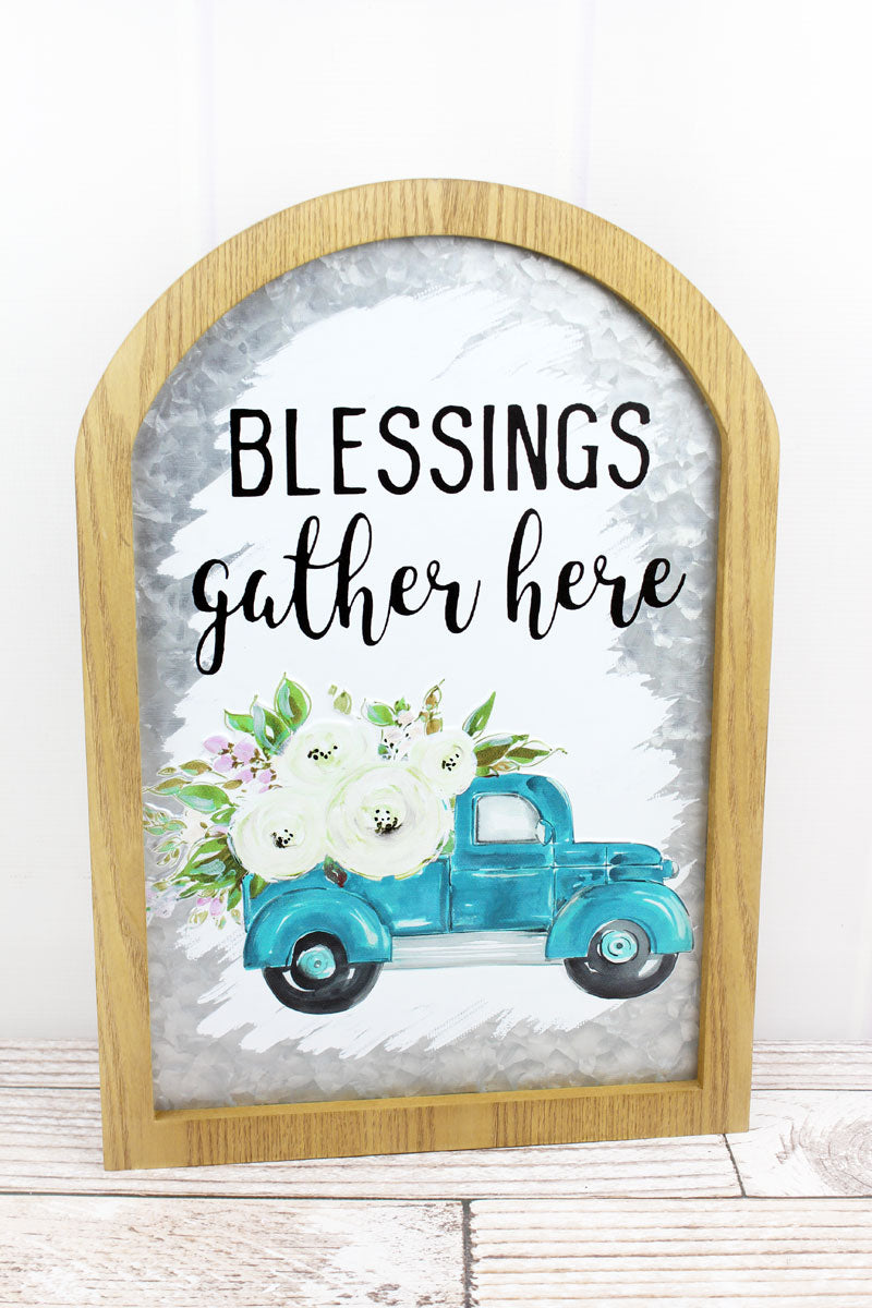 19.25 x 13.25 'Blessings' Framed Metal Arched Wall Sign