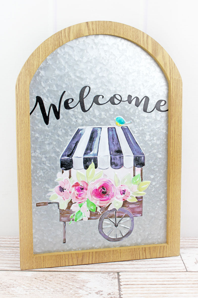 19.25 x 13.25 'Welcome' Framed Metal Arched Wall Sign