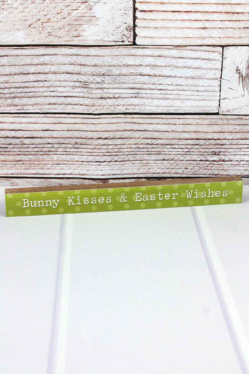 1.5 x 14.5 'Bunny Kisses & Easter Wishes' Wood Tabletop Block