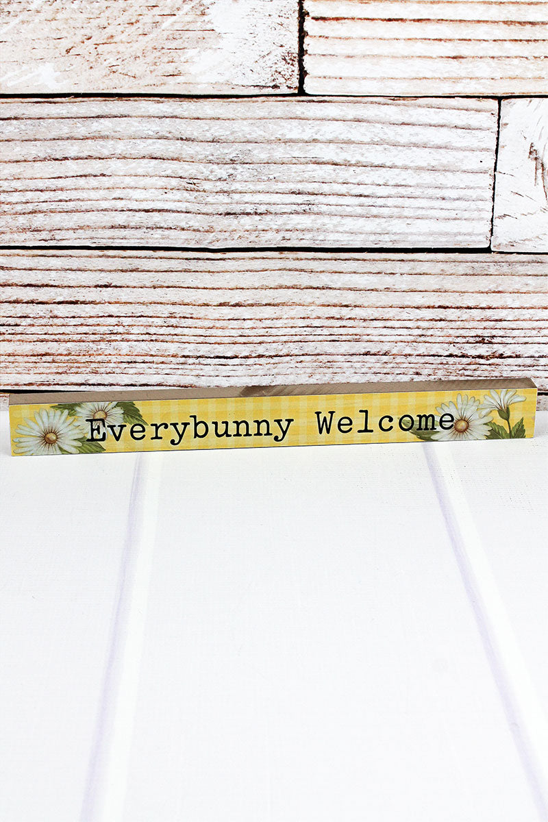 1.5 x 14.5 'Everybunny Welcome' Wood Tabletop Block