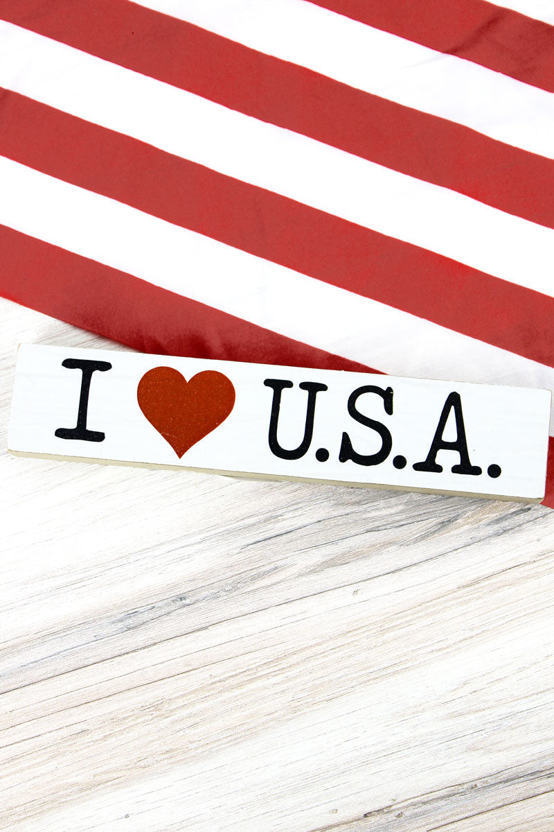 1.5 x 7.25 'I Heart U.S.A.' Patriotic Wood Block Sign