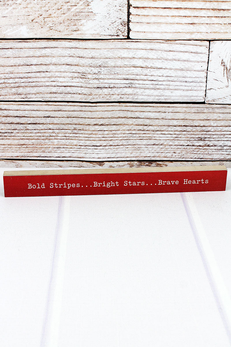 1.5 x 14.5 'Bold Stripes Bright Stars' Wood Tabletop Block