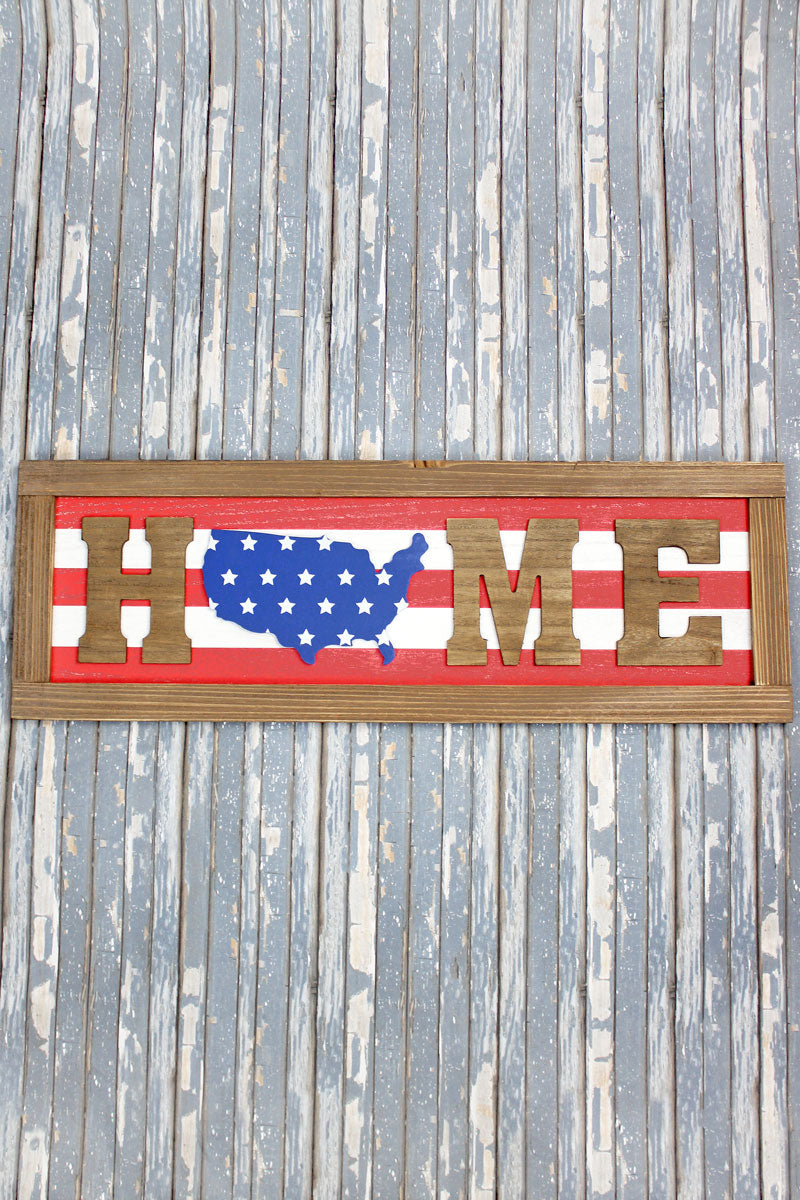 9.5 x 28 'Home' Patriotic Wood Framed Wall Sign
