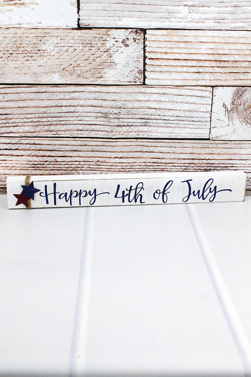 2.25 x 19 'Happy 4th of July' Wood Block Sign
