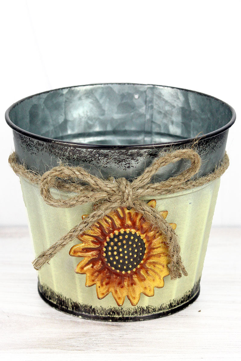 Sunflower Charm Cream Metal Pot, 4.25""
