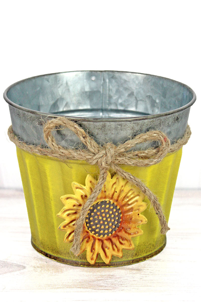 Sunflower Charm Yellow Metal Pot, 4.25""