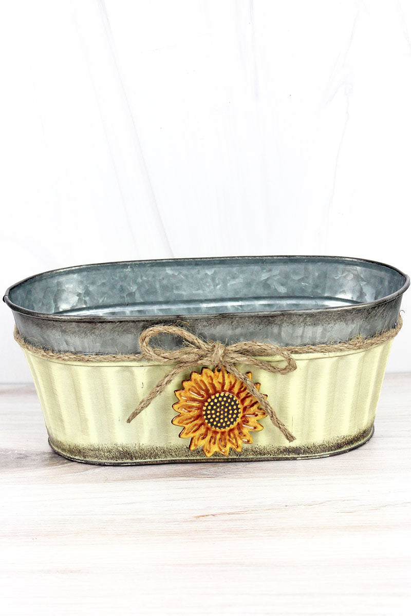 Sunflower Charm Cream Wide Metal Pot, 4""