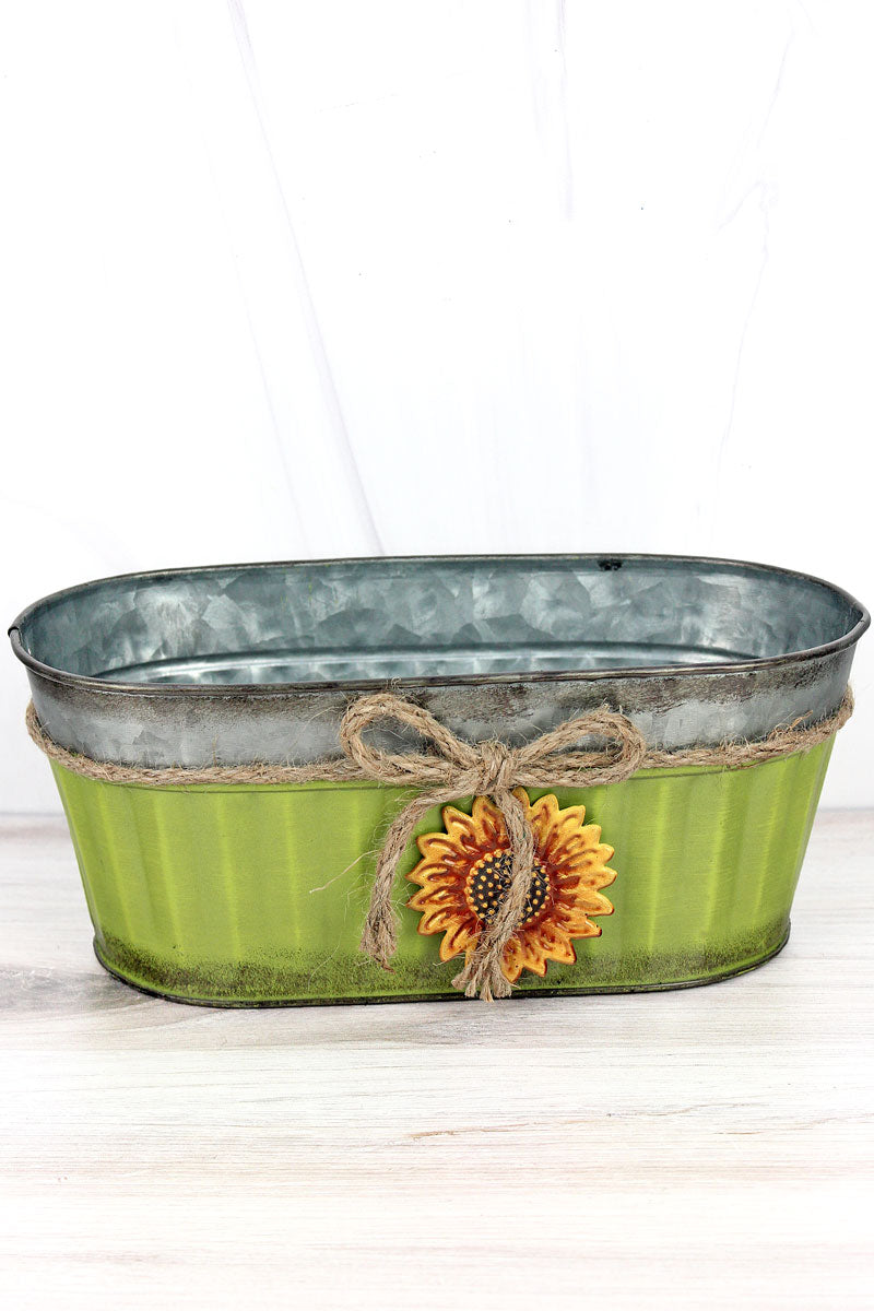Sunflower Charm Avocado Wide Metal Pot, 4""