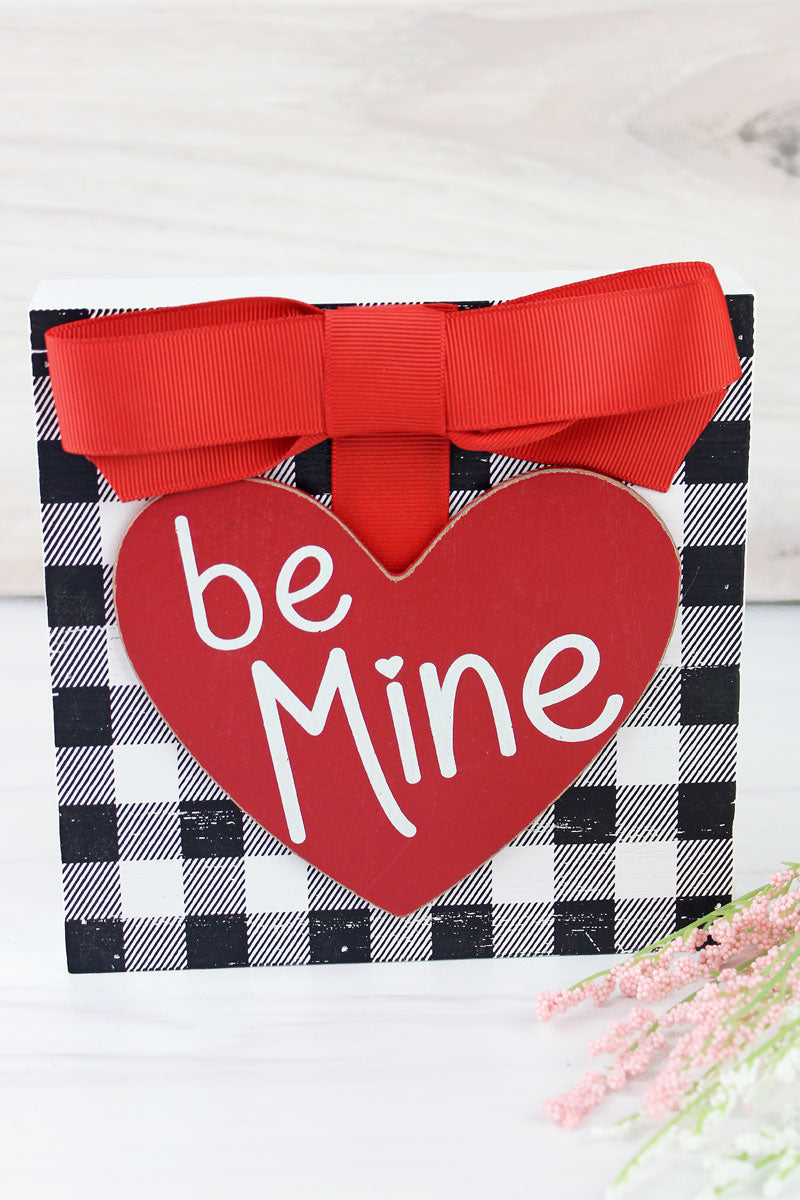 6 x 6 'Be Mine' Heart Bow Accented Wood Block Sign