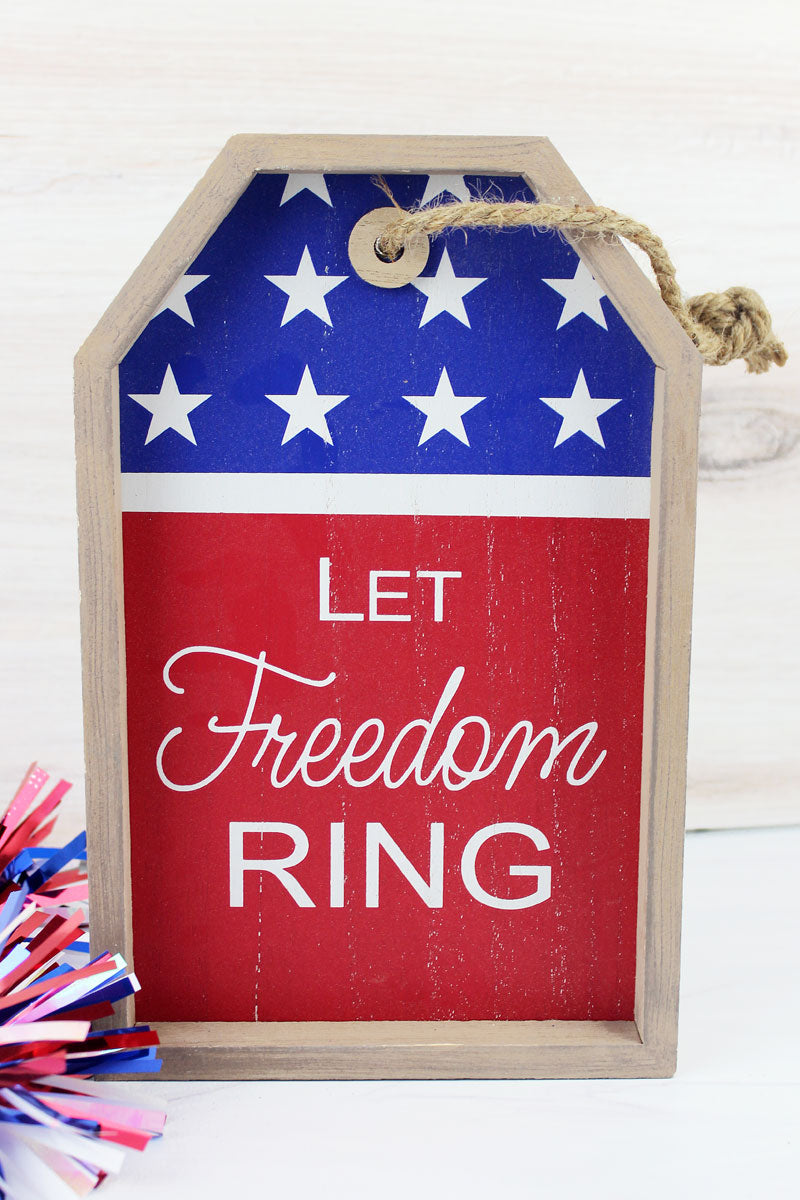 9.5 x 6 'Let Freedom Ring' Wood Gift Tag Wall Sign