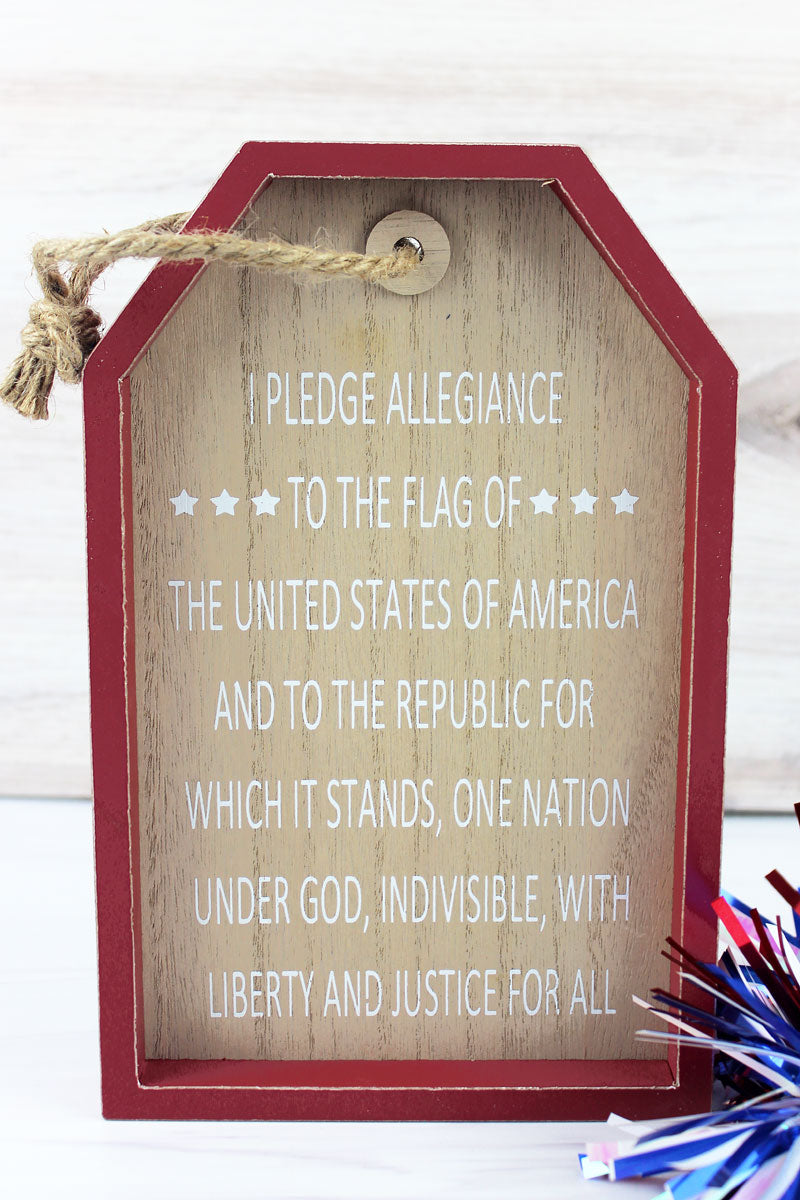 9.5 x 6 Pledge Of Allegiance Wood Gift Tag Wall Sign
