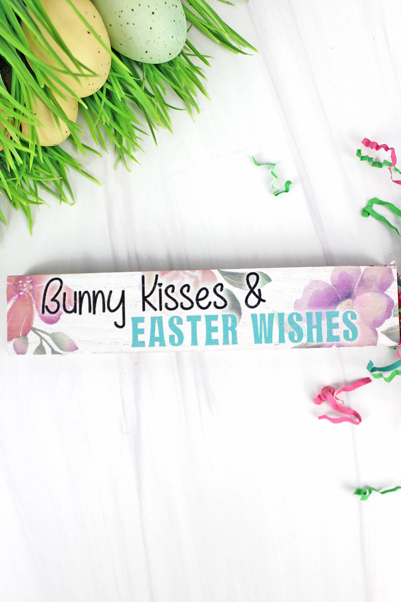 1.5 x 7.25 'Bunny Kisses & Easter Wishes' Wood Tabletop Block