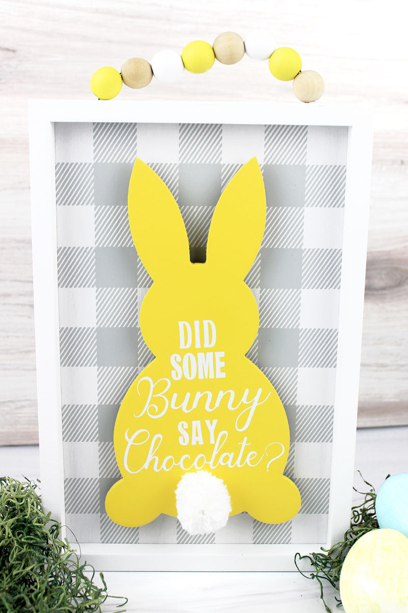 13.75 x 11.75 'Say Chocolate' Easter Bunny Sign