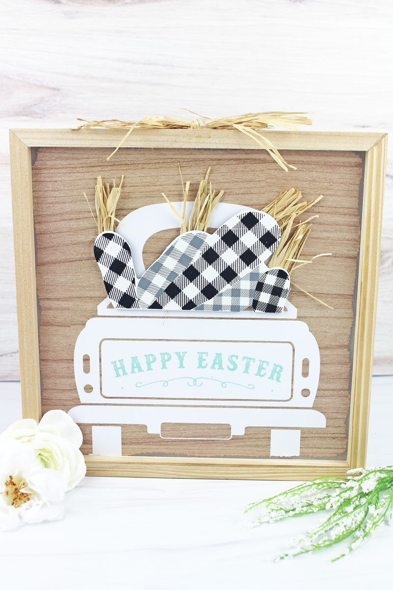 12 x 12 'Happy Easter' Harvest Truck Wood Framed Wall Sign