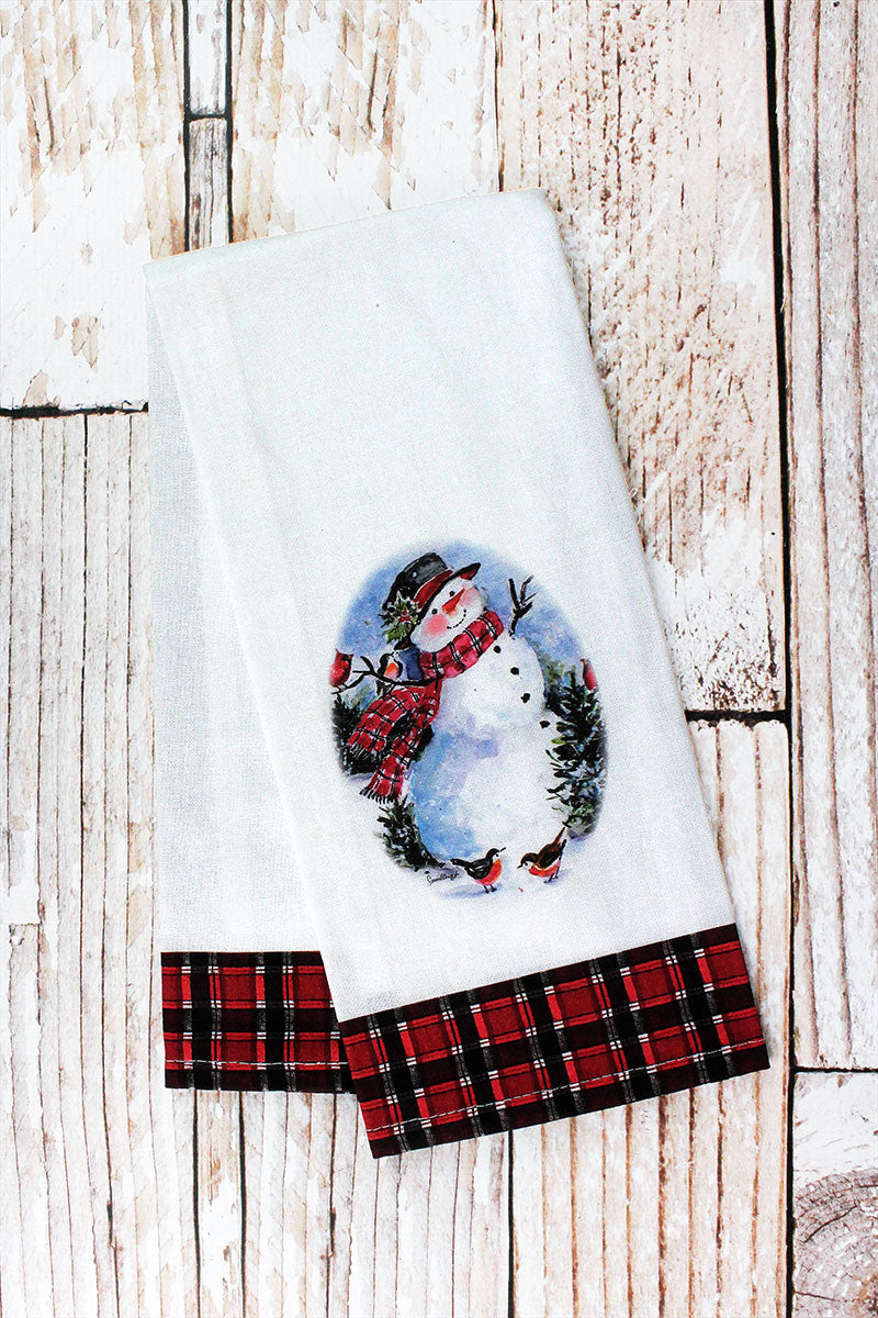 Friendly Snowman Tea Towel