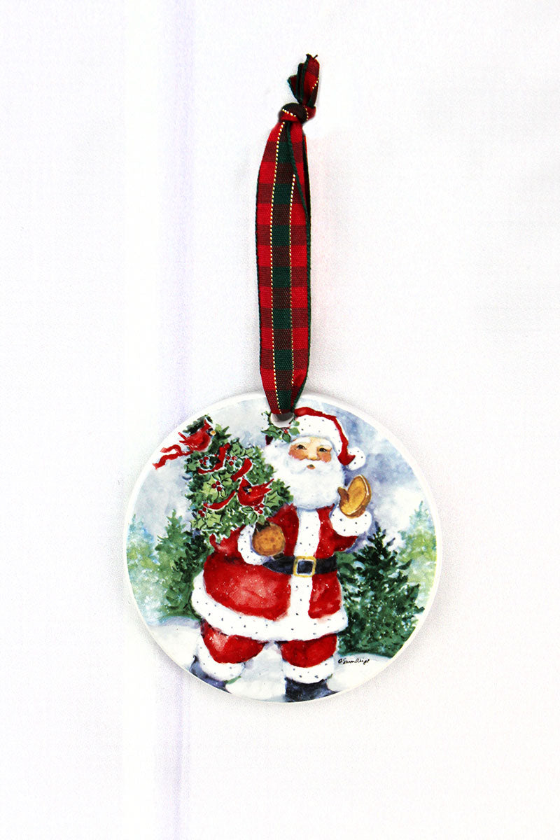 Santa Claus Porcelain Ornament, 3.5""