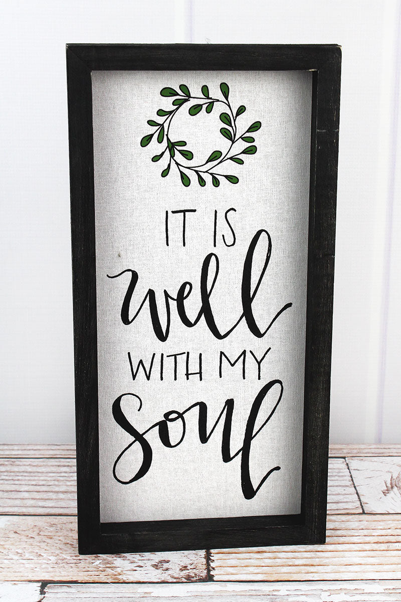 16 x 8 It Is Well With My Soul Framed Linen Sign