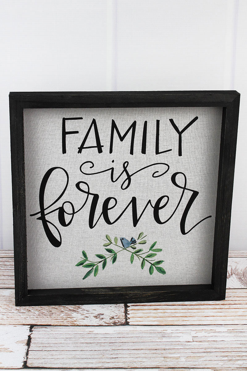 12 x 12 Family Is Forever Framed Linen Sign