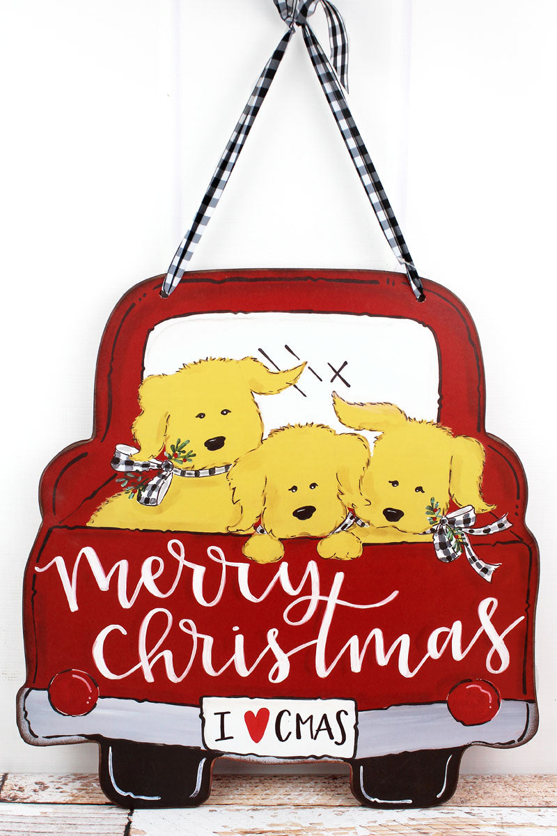 20 x 19 Truck Full Of Puppies Christmas Door & Wall Sign