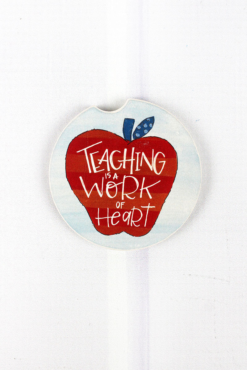 Teaching Is A Work Of Heart Car Coaster