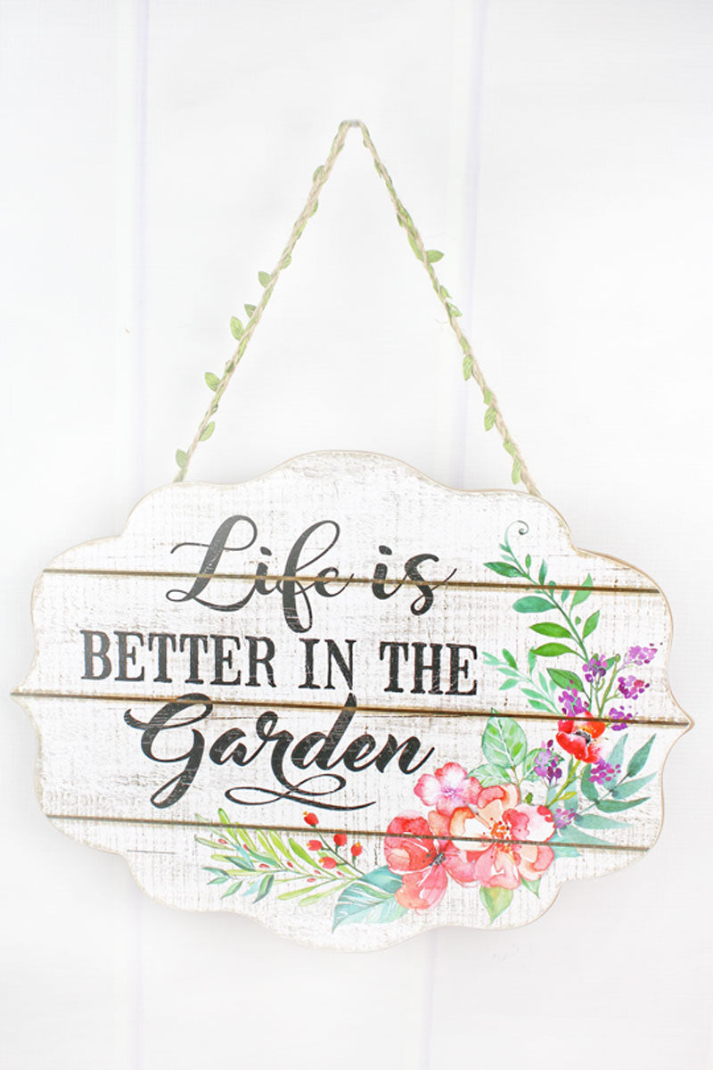 11.75 x 15.75 'Better In The Garden' Wood Wall Sign
