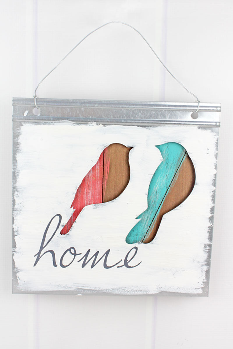 12 x 12 'Home' Cut-Out Metal and Wood Bird Wall Sign