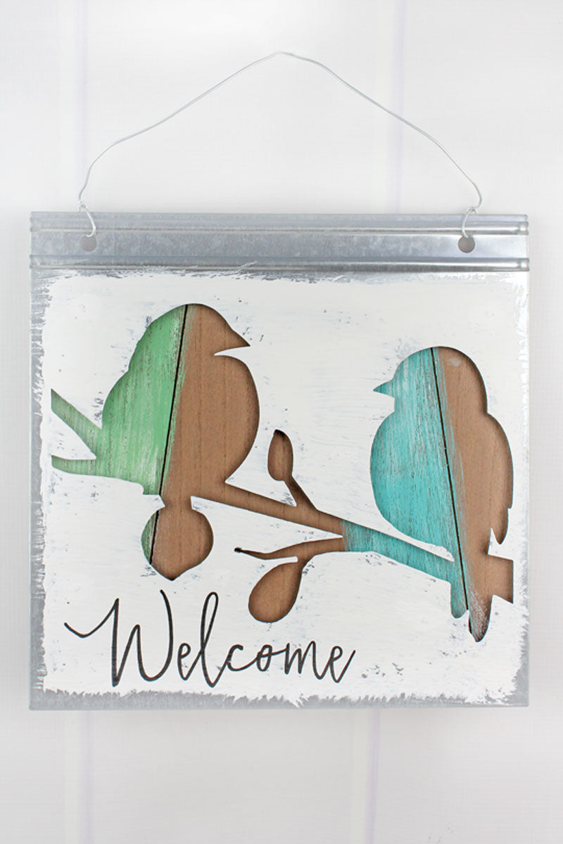 12 x 12 'Welcome' Cut-Out Metal and Wood Bird Wall Sign