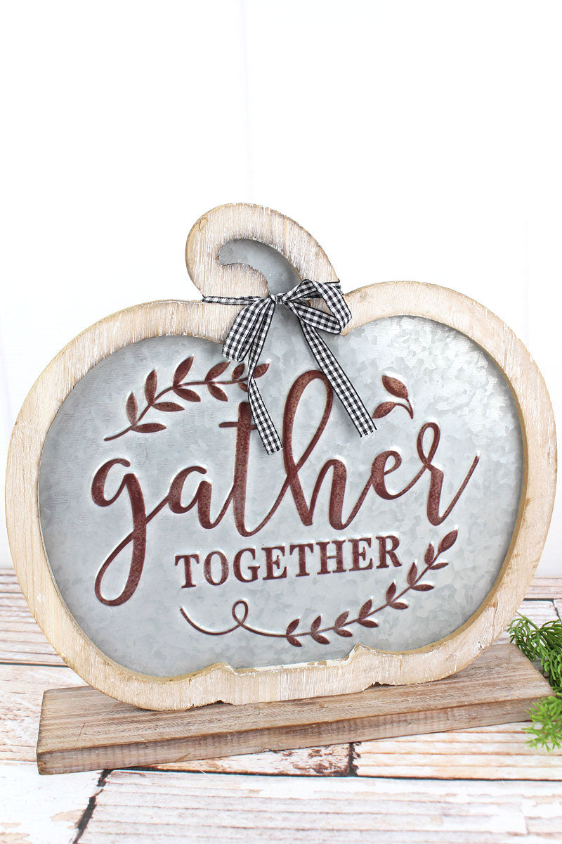 11.5 x 12 'Gather Together' Metal and Wood Tabletop Pumpkin