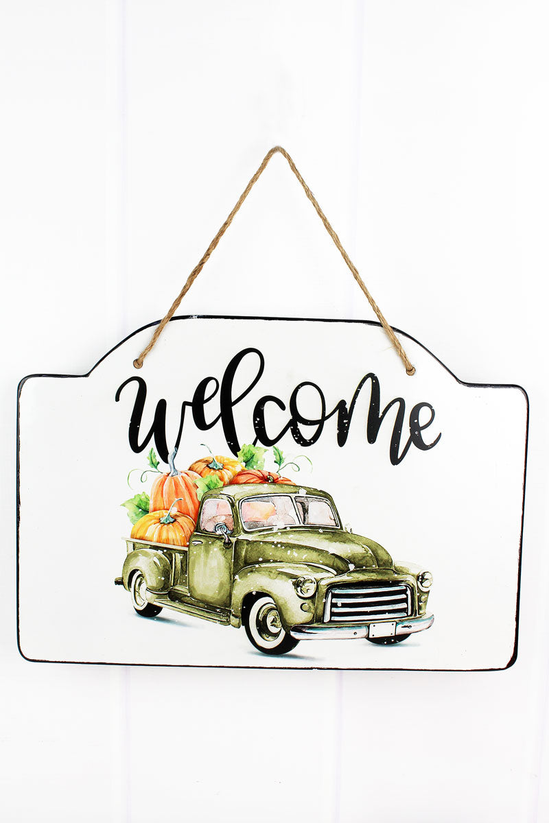12 x 17 'Welcome' Harvest Enamel Wall Sign