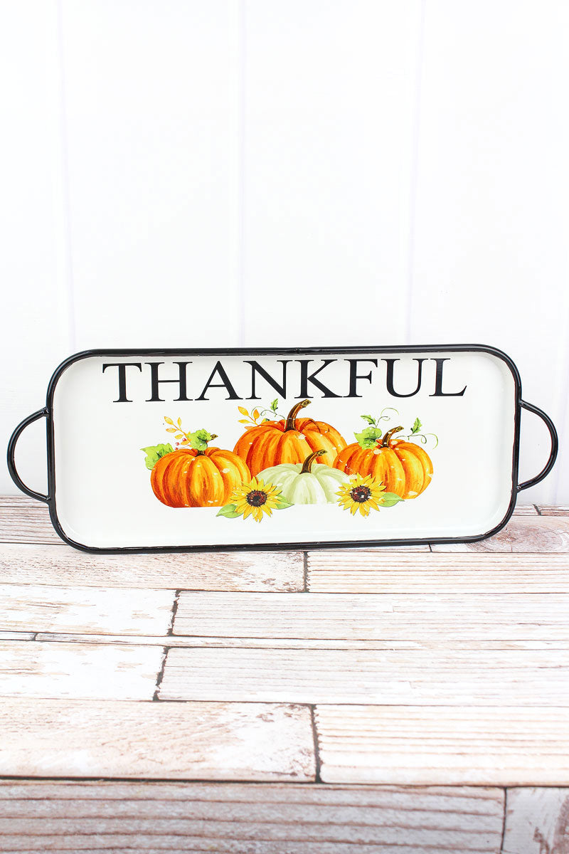 9 x 23.5 'Thankful' Pumpkin Enamel Serving Tray