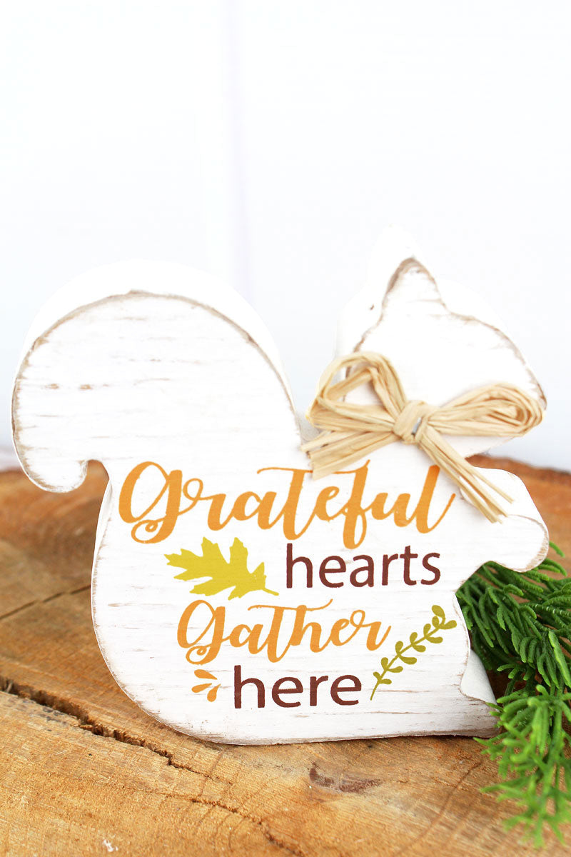5 x 5 'Grateful Hearts Gather Here' Wood Tabletop Squirrel