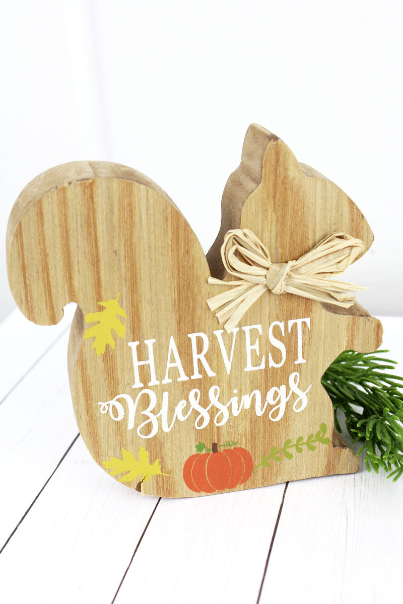 5 x 5 'Harvest Blessings' Wood Tabletop Squirrel
