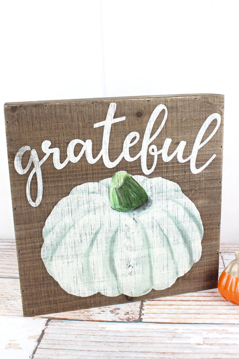 12 x 12 'Grateful' Fall Pumpkin Wood Box Sign