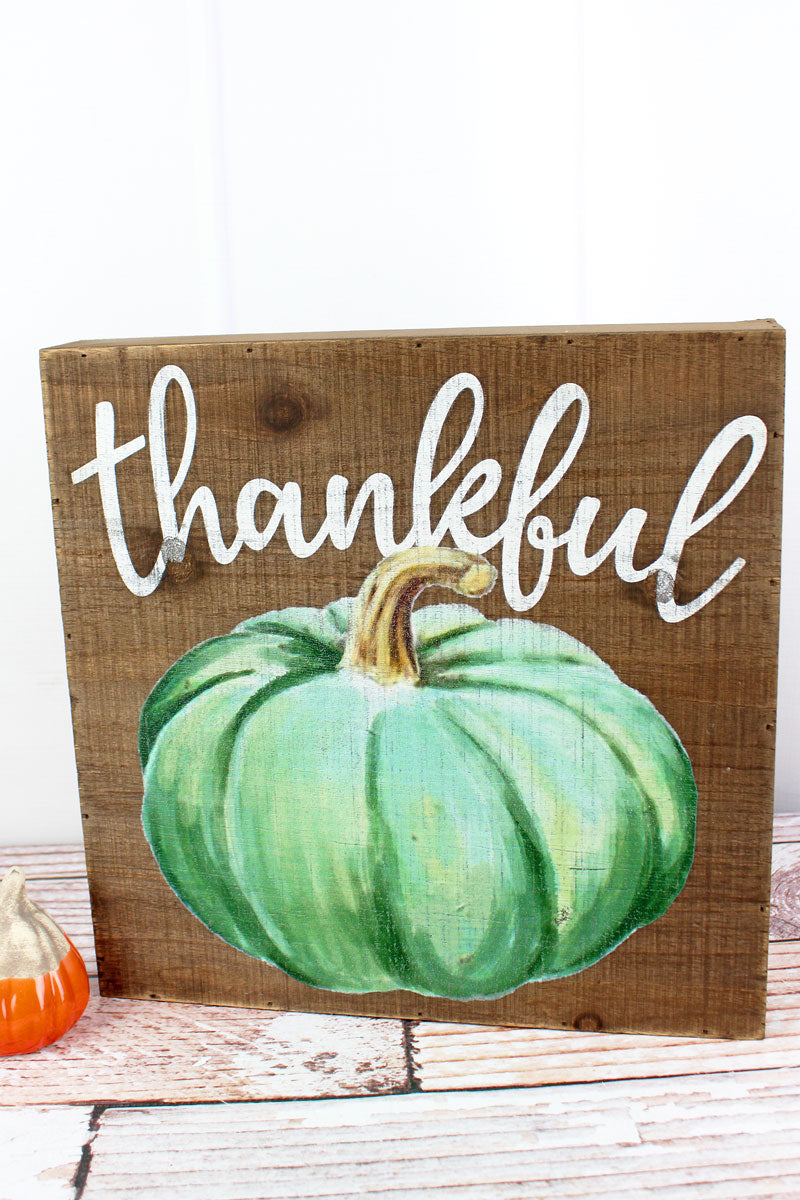 12 x 12 'Thankful' Fall Pumpkin Wood Box Sign