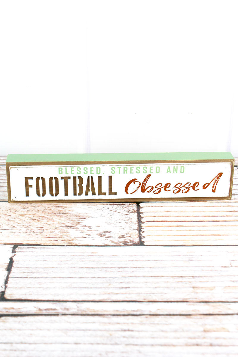 2 x 10.5 'Obsessed' Football Cut-Out Wood Tabletop Block