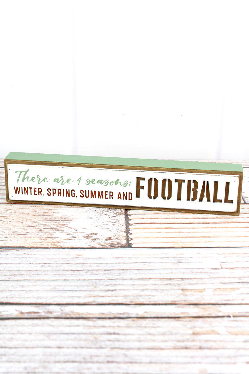 2 x 10.5 '4 Seasons' Football Cut-Out Wood Tabletop Block