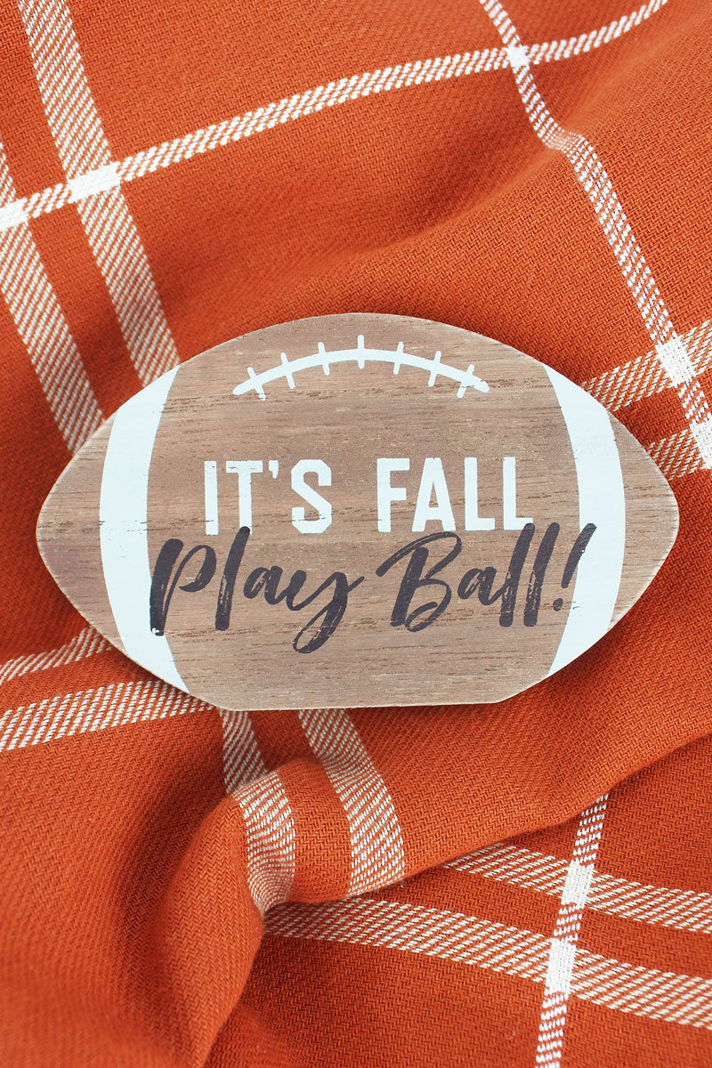 3 x 5 'It's Fall Play Ball!' Wood Tabletop Football