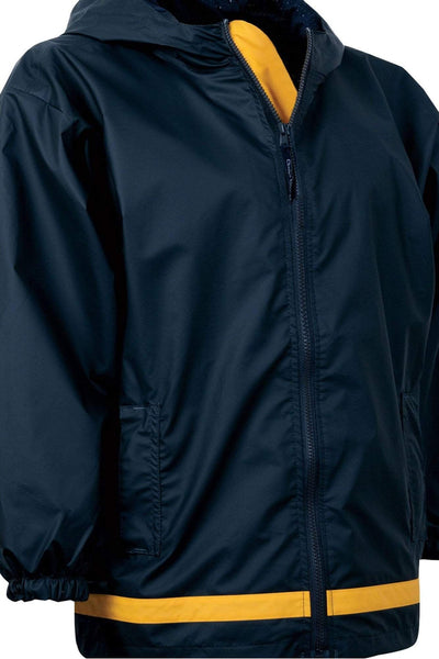 Charles River Youth New Englander True Navy and Yellow Rain Jacket *Customizable! (Wholesale Pricing N/A)