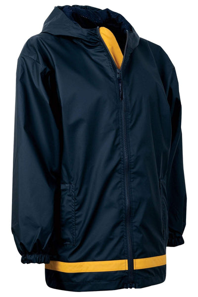 Charles River Youth New Englander True Navy and Yellow Rain Jacket #8099 *Customizable! (Wholesale Pricing N/A.. PLEASE ALLOW 3-5 BUSINESS DAYS.. EXPEDITED SHIPPING N/A) - Wholesale Accessory Market