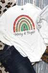 Merry & Bright Christmas Rainbow DryBlend Adult Long Sleeve Tee
