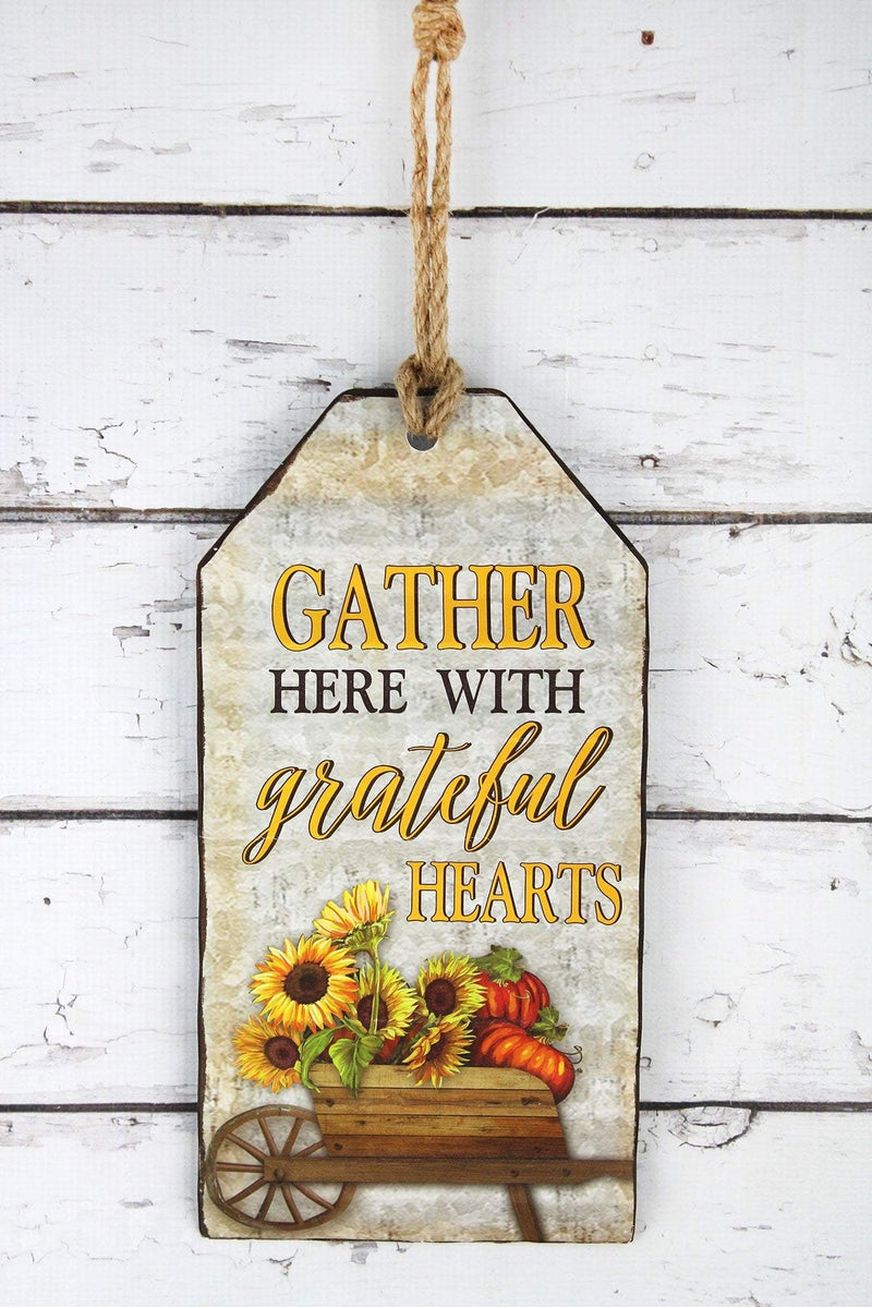 14.5 x 7.25 'Gather Here With Grateful Hearts' Metal Gift Tag Sign