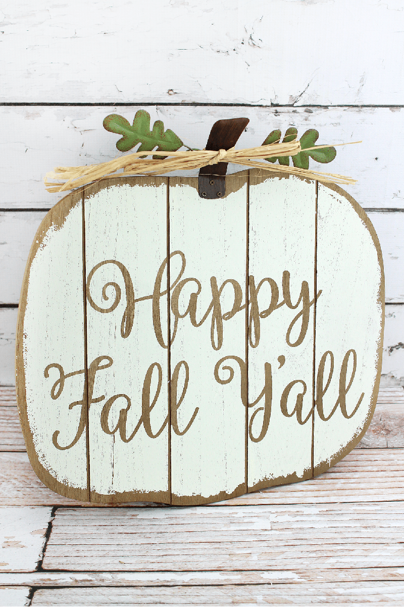 15.75 x 15.25 'Happy Fall Y'all' Wood Pumpkin Wall Sign