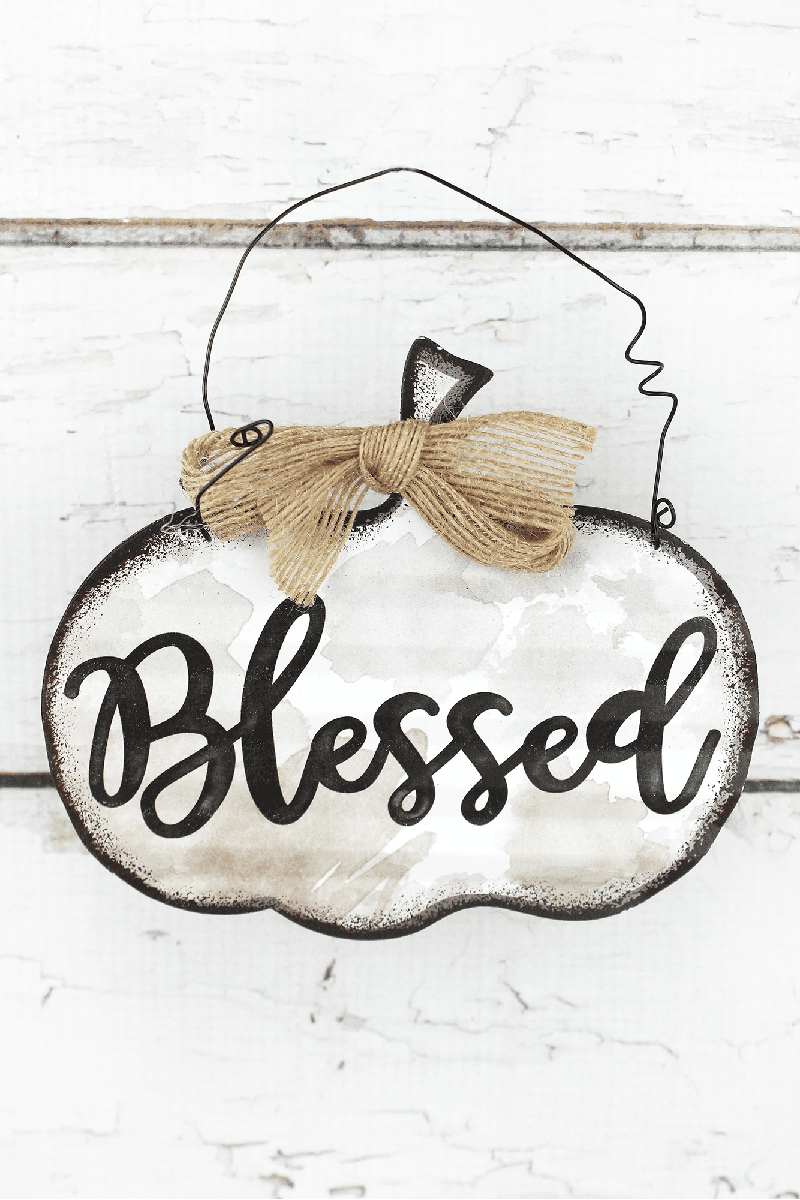 5.25 x 6 'Blessed' Tin Pumpkin Wall Sign